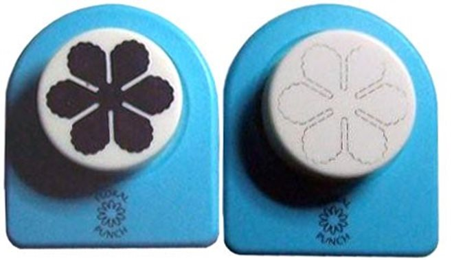 Floral Punch 002 medium flower 1: Set of 2 punches: 1 normal punch and 1 embossingpunch. First punch a flower, butterfly or leaf and then emboss it with the embossingpunch. (flowerpunch, floralpunch)