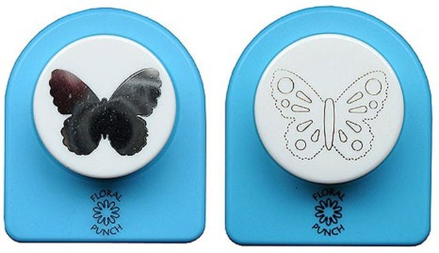 Floral Punch 016 medium butterfly: Set of 2 punches: 1 normal punch and 1 embossingpunch. First punch a flower, butterfly or leaf and then emboss it with the embossingpunch. (flowerpunch, floralpunch)