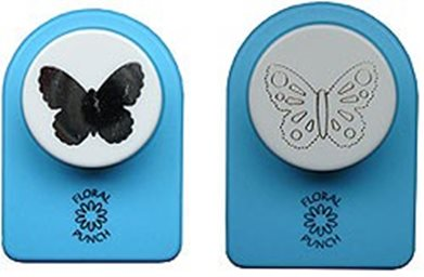 Floral Punch 018 small butterfly: Set of 2 punches: 1 normal punch and 1 embossingpunch. First punch a flower, butterfly or leaf and then emboss it with the embossingpunch. (flowerpunch, floralpunch)