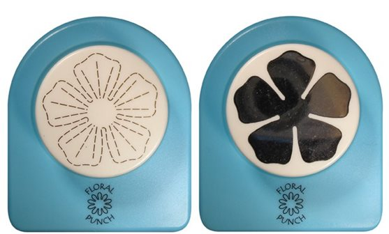 Floral Punch 030 large rose flower: Set of 2 punches: 1 normal punch and 1 embossingpunch. First punch a flower, butterfly or leaf and then emboss it with the embossingpunch.(flowerpunch, floralpunch)
