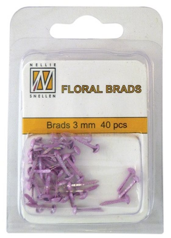 Floral Glitter brads 003 pink little brads 3 mm: brad for card decoration, for example in the middle of a flower. Combines with Floral spacers. 40 pieces in a bag.