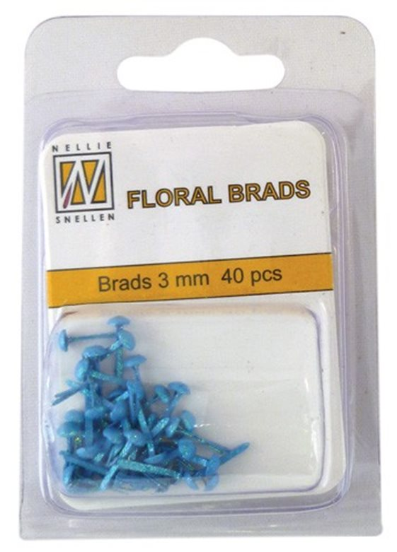 Floral Glitter brads 004 blue little brads 3 mm: brad for card decoration, for example in the middle of a flower. Combines with Floral spacers. 40 pieces in a bag.