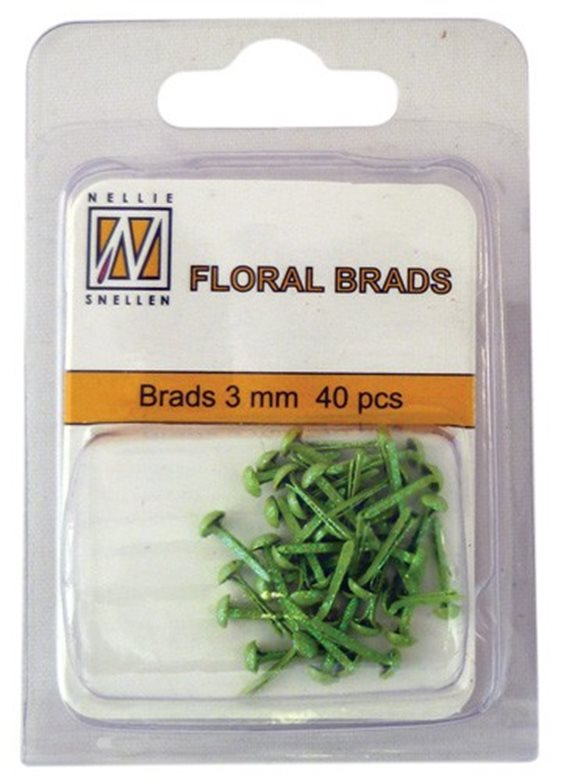 Floral Glitter brads 005 green little brads 3 mm: brad for card decoration, for example in the middle of a flower. Combines with Floral spacers. 40 pieces in a bag.