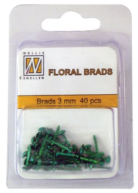 Floral Glitter brads 007 bottle green little brads 3 mm: brad for card decoration, for example in the middle of a flower. Combines with Floral spacers. 40 pieces in a bag.