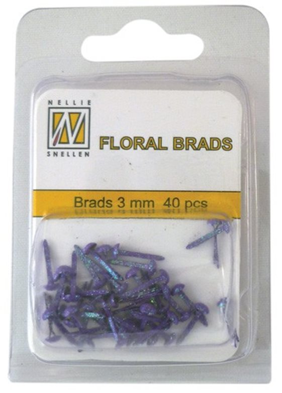 Floral Glitter brads 008 purple little brads 3 mm: brad for card decoration, for example in the middle of a flower. Combines with Floral spacers. 40 pieces in a bag.