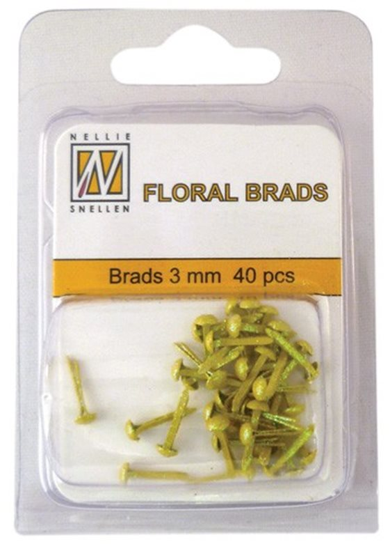 Floral Glitter brads 009 yellow little brads 3 mm: brad for card decoration, for example in the middle of a flower. Combines with Floral spacers. 40 pieces in a bag.