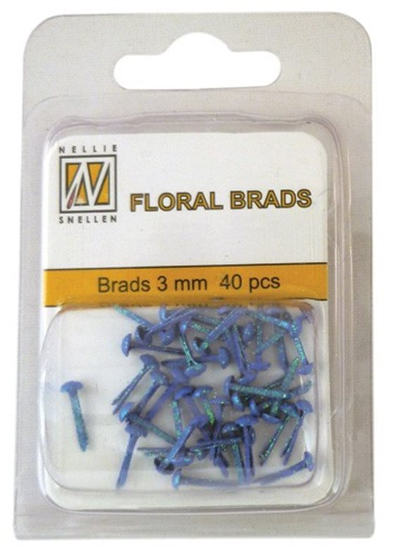 Floral Glitter brads 010 sapphire blue little brads 3 mm: brad for card decoration, for example in the middle of a flower. Combines with Floral spacers. 40 pieces in a bag.